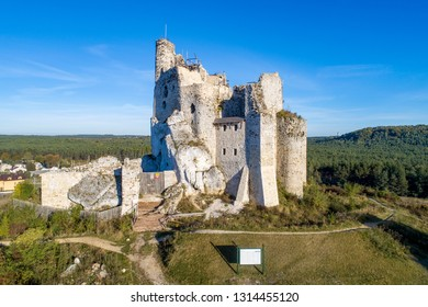 Ruins of Medieval Castle in Mirow, Silesia, Poland, built in 14th century. One of strongholds  called Eagles Nests in Polish Jurassic Highland in Silesia. Aerial view.