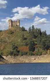 """Ruins of medieval castle named """"Chateau Alleuze"""". Cantal, Auvergne, France"""