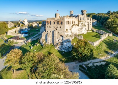 The ruins of medieval castle on the rock in Ogrodzieniec, Poland. One of strongholds  called Eagles Nests in Polish Jurassic Highland in Silesia. Aerial view