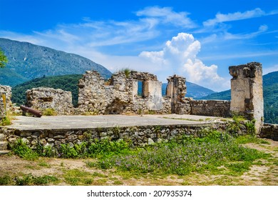 Ruins of medieval castle of Parga near the Ionian sea in Greece.