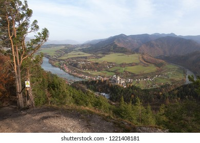 Ruins of Medieval Castle Strecno on the Hill above Vah River near Zilina Town with Mala Fatra Mountain Range in the background, Slovakia