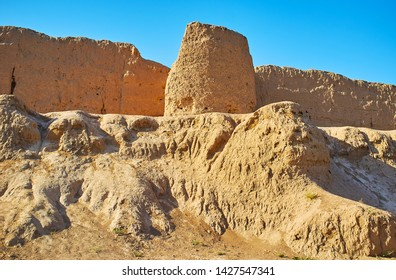 The ruins of the medieval clay Ghal'eh Jalali fortress, extant in Kashan, Iran