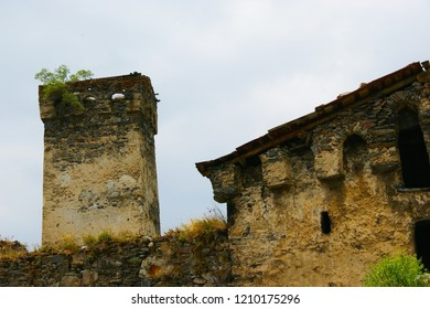 ruins of a medieval fortress with watchtowers. Svaneti, Georgia