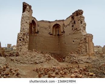 Ruins of medieval madrasah mosque of Caliph Rajab or World Clock (local folk name). One of most ancient buildings in Central Asia. Located in necropolis Mizdakhan, Xojayli, near Nukus, Uzbekistan
