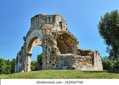 Ruins of a medieval stone church next to the town of Magliano in Toscana, Italy