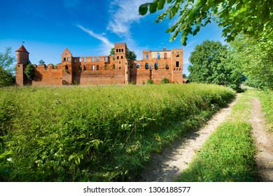 Ruins of medieval teutonic knights castle in Szymbark, Poland (former Schonberg, East Prussia)