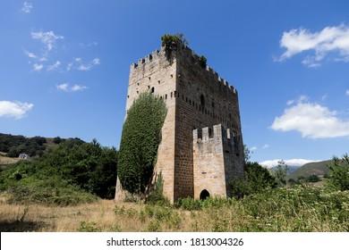 Ruins of Medieval tower of Velasco in Espinosa de los monteros,