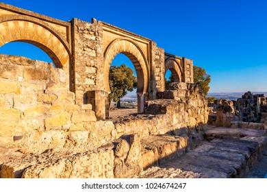 The ruins of Medina Azahara, a fortified Arab Muslim medieval palace-city near Cordoba, Spain