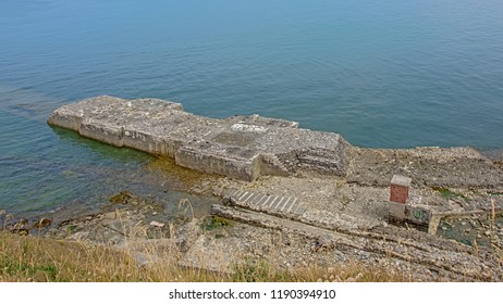Ruins of military infrastructure on the coast of Boulogne sur Mer, Oise, France