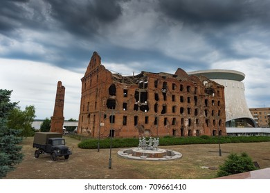 Ruins of the mill of Gerhardt - surviving building after the bombing by the Nazis of Stalingrad