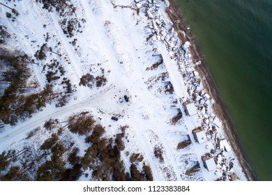 Ruins of miltary fortres by Baltic sea next to Liepaja, Latvia in winter time.