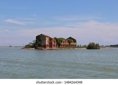 Ruins of the monastery of Madonna del Monte, or Madonna del Rosario, Venice Lagoon, Venice, Italy.