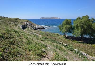 Ruins of Myndus (Myndos of  Dorian colony of Troezen) ancient city near Gumusluk village. Turkey. Bodrum peninsula