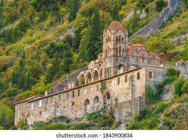 Ruins in Mystras (also Mistras, Myzithras) a historical fortified Bizantine town in Laconia, near ancient Sparta, Peloponnese, Greece.