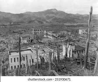 Ruins of Nagasaki, Japan, after atomic bombing of August 9, 1945. As seen from a hillside opposite the Nagasaki Hospital in October 1945.