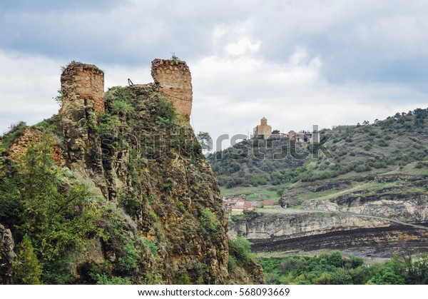 Ruins in Narikala Fortress in Tbilisi, the capital of Georgia