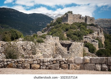Ruins of the Nimrod Fortress (Mivtzar Nimrod), a medieval fortress. National Park. An ancient castle of crusaders on the Great Rock situated in the northern Golan Heights, Israel.