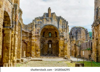 ruins of ninth century Benedictine abbey of Notre Dame in village of Alet les Bains in Aude France