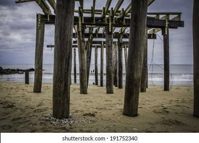 The ruins of the Ocean Grove Fishing Pier approximately three months after Hurricane Sandy destroyed the New Jersey coastline.