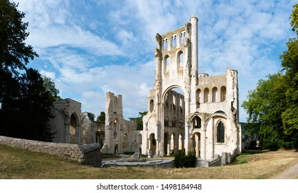 the ruins of the old abbey and Benedictine monastery at Jumieges in Normandy in France