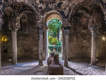 Ruins of the old Arab Baths (Banys Arabs), old city, Palma de Mallorca (Majorca), Balearic Islands, Spain