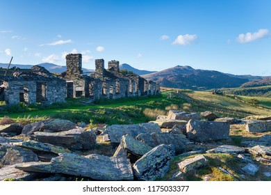 Ruins at of the old barrack buildings at Rhos Quarry on the side of Moel Siabod mountain near Capel Curig in Snowdonia National Park in Wales
