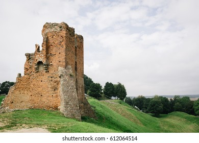 Ruins of old brick castle background