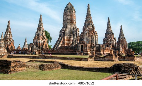 Ruins of an old Buddhist temple complex in Ayutthaya Thailand