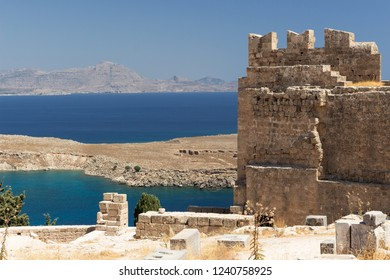 ruins of the old Castle of the Acropolis of Lindos, Rhodes, Greece