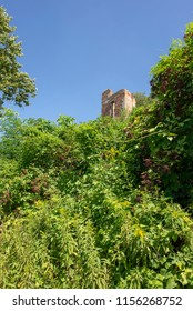 Ruins of old castle on hill in Zawieprzyce, Poland