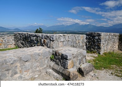 Ruins of the Old Castle on the top of the hill above the village Smlednik, Slovenia. it was probably built in 11th century on a bedrock as a tower, later expanded. Interior of the castle with view.
