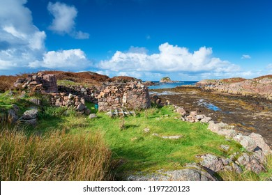 The ruins of an old croft on the shore at Kintra on the Isle of Mull in Scotland