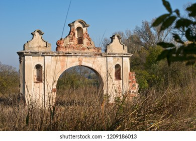 Ruins of old deserted baroque gateway in North Bohemia.