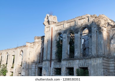 Ruins of the old destroyed synagogue in Chisinau. The background is the blue sky.