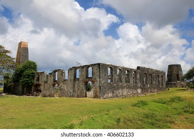 Ruins of the old factory and windmills in Marie-Galante, Guadeloupe (France), Caribbean Islands
