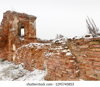 the ruins of the old fortifications are made of red brick, the winter season is cloudy