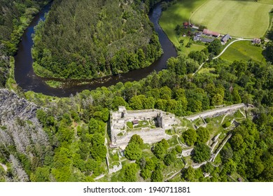 Ruins  of an old gothic castle Divci kamen (Maiden's Stone) in the Southern Czech Republic neer the town of Kremze - Shutterstock ID 1940711881