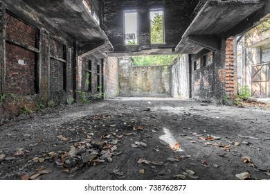 The ruins of the old industrial factory buildings