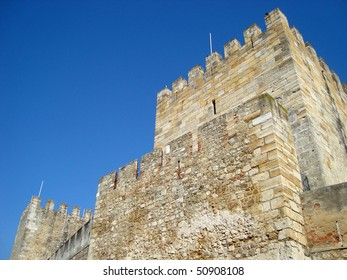 Ruins of old medieval castle in Portugal