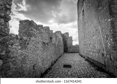 The ruins of an old medieval castle,  Rocca Calascio (Italy), on the Apennine mountains in the heart of Abruzzo
