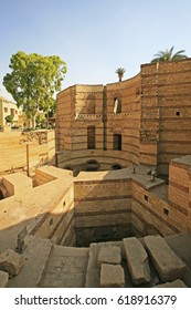 Ruins of the old roman walls In Babylon Fortress, Coptic Cairo, Egypt