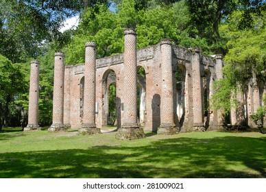 Ruins of Old Sheldon Church near Beaufort, South Carolina, United States.