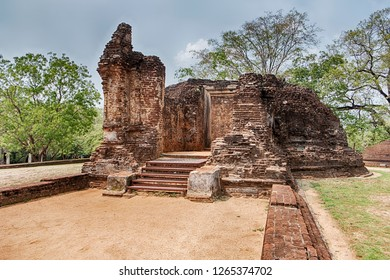The ruins of an old stone shrine in the Potgul Vihara monastery area of the ancient city of Polonnaruwa in Sri Lanka.