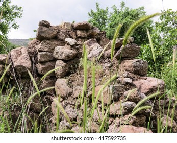ruins of old stone walls.