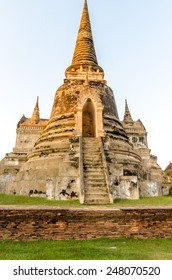 Ruins of the old stupa, ruins Buddha statue & area in The old temple in Ayutthaya, Thailand