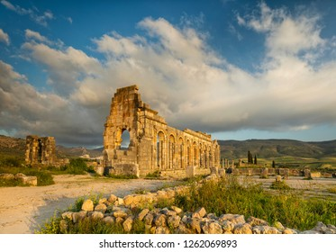 ruins of old temple in antique roman city Volubilis in Morocco
