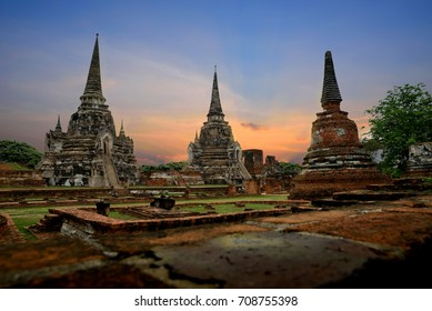 The ruins of the old temple in Ayutthaya historical park, Ayutthaya, Thailand