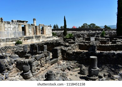 Ruins of the old village of Capernaum on the coast of the Sea of Galilee, Israel.