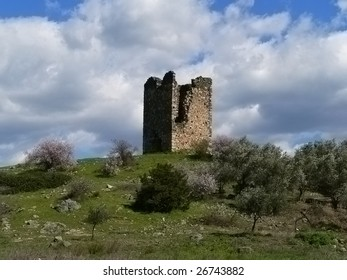 ruins on a green grass hill with almond trees and bushes and a blue sky on an island called evia in greece
