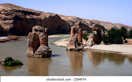 Ruins on the Tigris river, Hasankeyf village, Turkey. It will be flooded  for  the GAP dam project